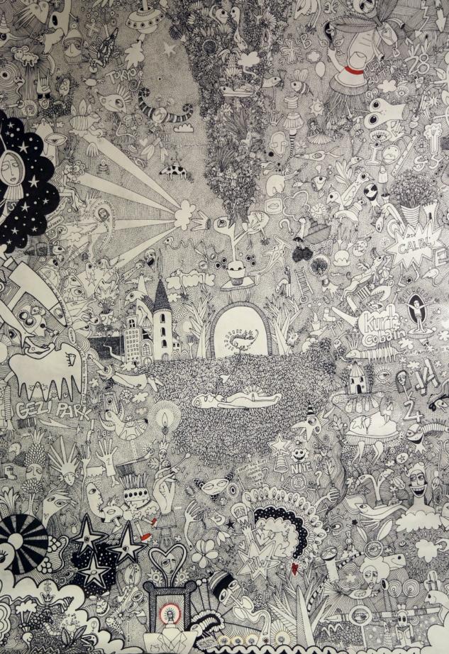 Gezi 2014, 70×100 cm, kağıt üzerine mürekkep-y
