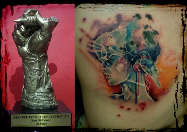 2013 İstanbul Tattoo Convention Renkli Dövme Kategorisi Birincilik Ödülü alan çalışma.
