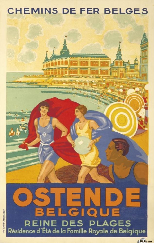 900_Ostende Belgique Reine des Plages poster