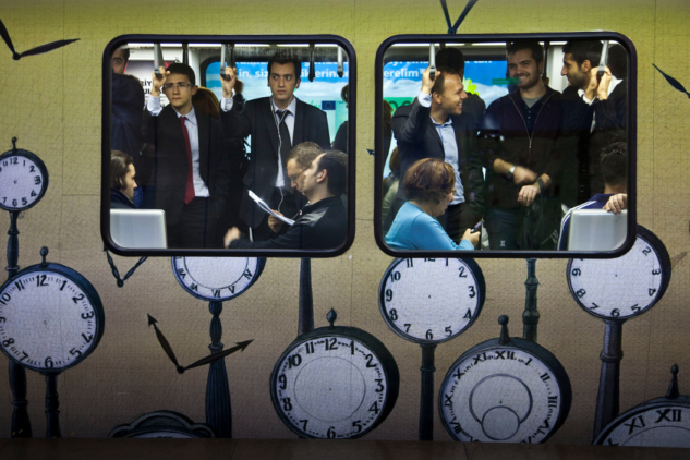 Bruno Barbey | İstanbul | Subway. Gayrettepe, Working class from the financial region, 2009