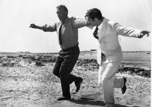"Anthony Quinn (left) and Alan Bates in ""Zorba the Greek"" (1964)."