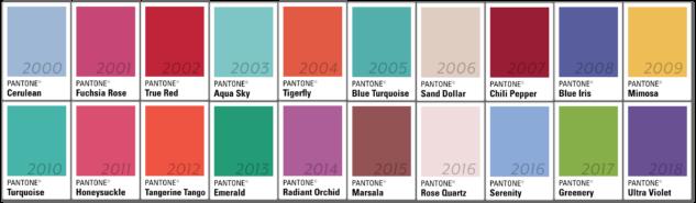 pantone yılın rengi 2000-2018