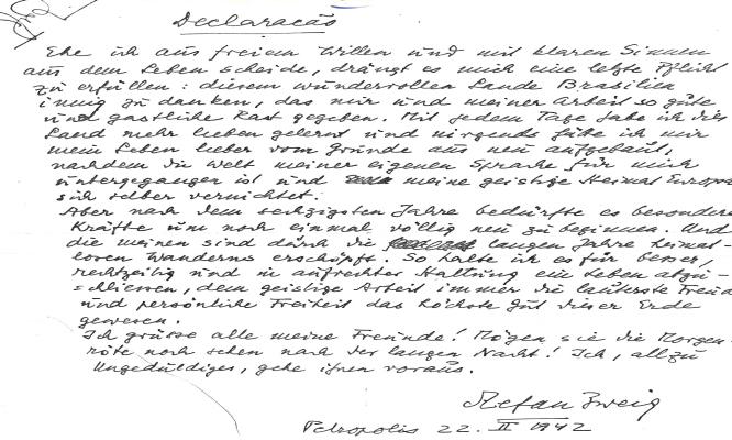 Stefan Zweig İntihar Mektubu