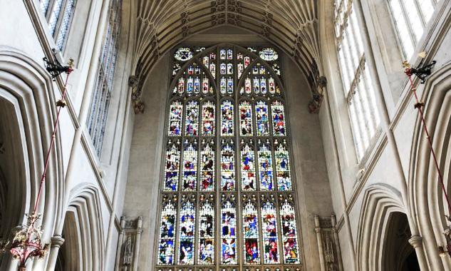 Bath Abbey Vitray ve Tavan Detayı