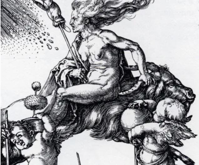 Witch Riding Backwards on a Goat, Dürer