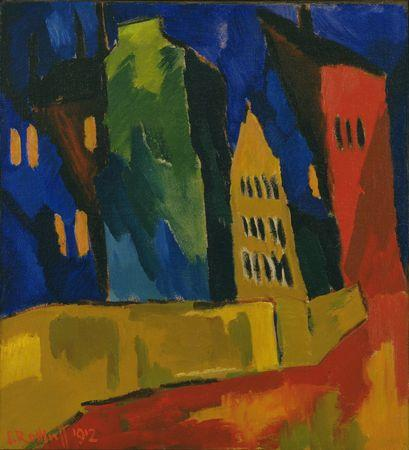 Karl Schmidt-Rottluff, Houses At Night