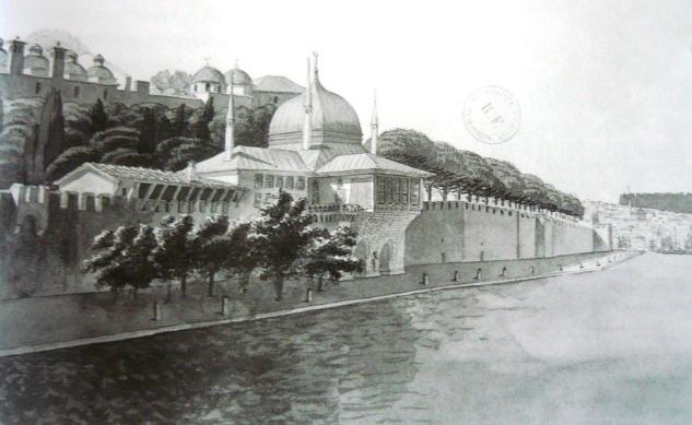 J. N. Huyot, İncili Köşk'ün suluboya resmi, 1817-20