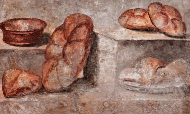 Pompeii'de Panis Quadratus Freskosu