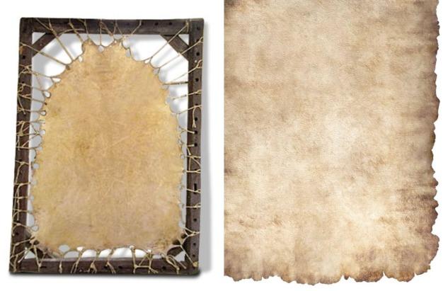 Parşömen kağıdı yapımından bir aşama ve parşömen dokusu