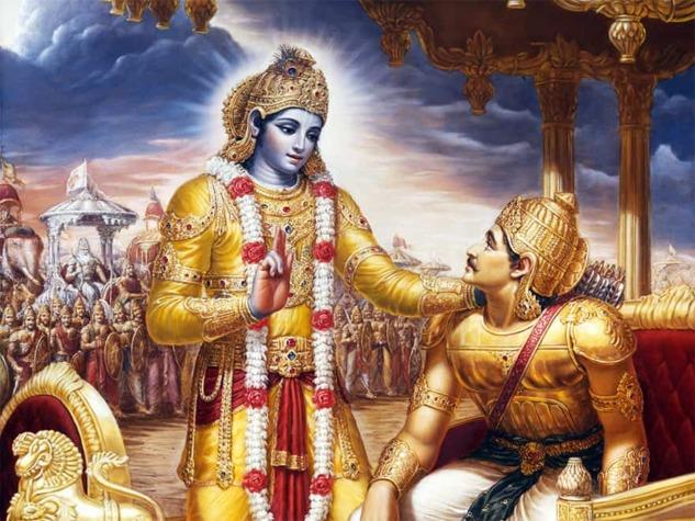 Savaş Alanındaki Krişna ve Arjuna